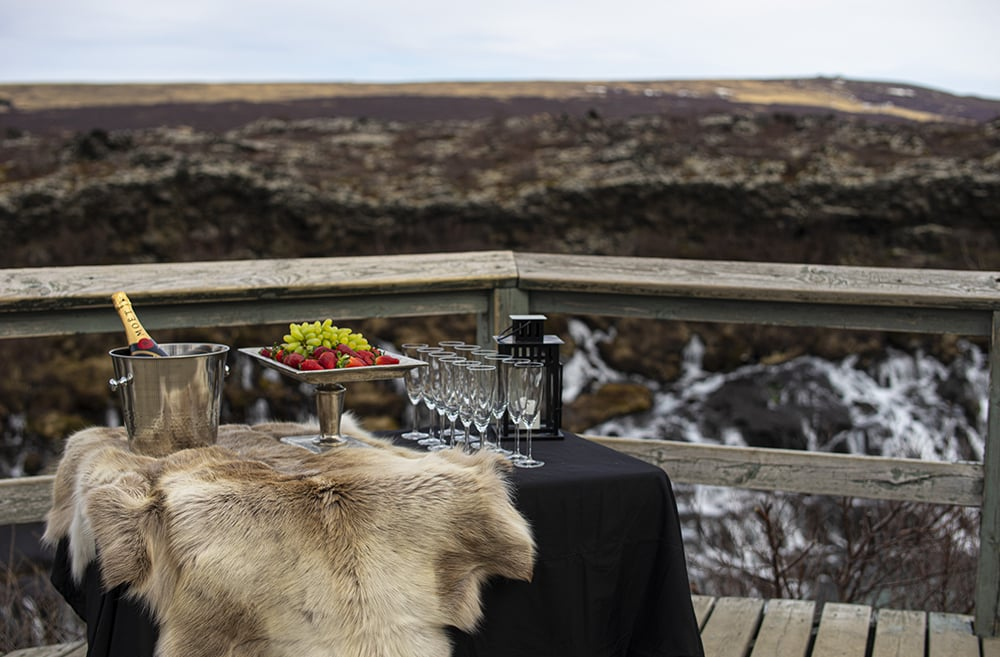 Champagne moment waterfall Atlantik DMC PCO Incentive Cruise Events Conferences Iceland